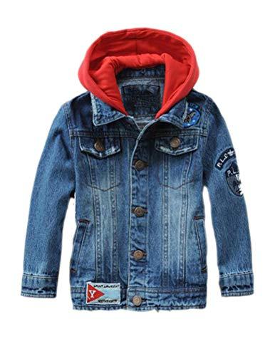 Mallimoda Kids Boys Girls Hooded Denim Jacket Zipper Coat Outerwear (9-10 Years, Style 1 Blue)