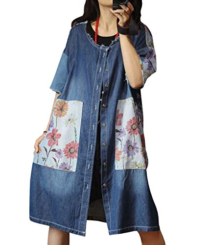 - YESNO JEP Women Casual Long Ethnic Floral Denim Jacket Shirt Crew Neck Fringed Distressed/Side Pockets