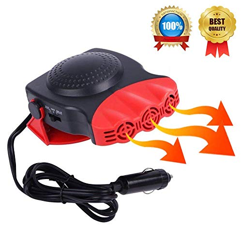 Heater Defroster - Portable Car Heater, Car Defroster Defogger, Heating Cooling Fan, 30 Seconds Fast Heating, Auto Ceramic Heater Windshield Defroster that Plugs Into Cigarette Lighter 12V 150W 3-Outlet