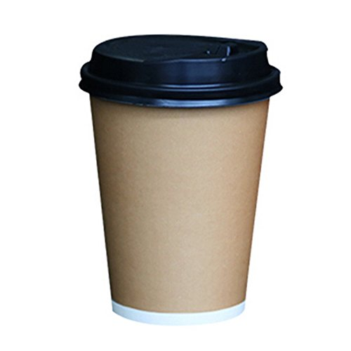 Creative 50 Count Disposable Cup Paper Coffee Cups With Lids 14 oz, No.3