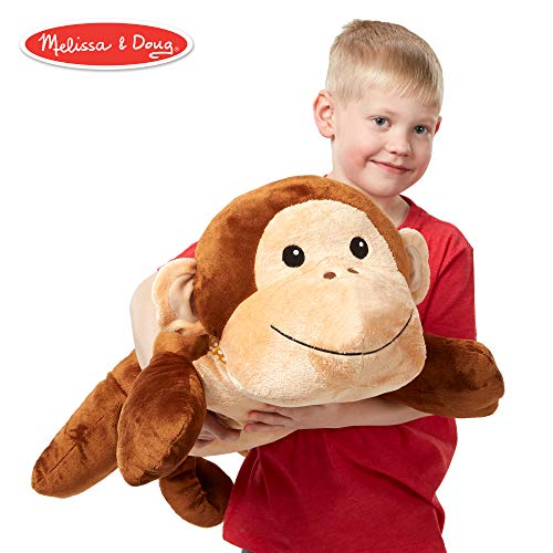 Jumbo Monkey - Melissa & Doug Cuddle Monkey Jumbo Plush Stuffed Animal (Reusable Activity Card, Nametag, Over 2 Feet Long)