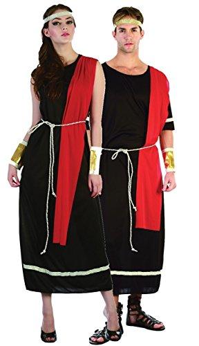Couples Ladies & Mens Black Toga Roman Greek Caesar God Goddess Historical Fancy Dress Costumes Outfits (Ladies UK 10-14 & Mens Standard)