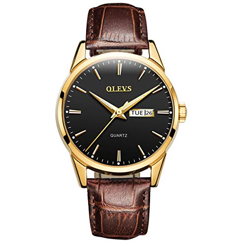 - Business Leather Men Watches-OLEVS Analog Quartz Male Dress Week Date Classic Luminous Black Dial Brown Leather Strap 3ATM Waterproof Wrist Watch Lovers
