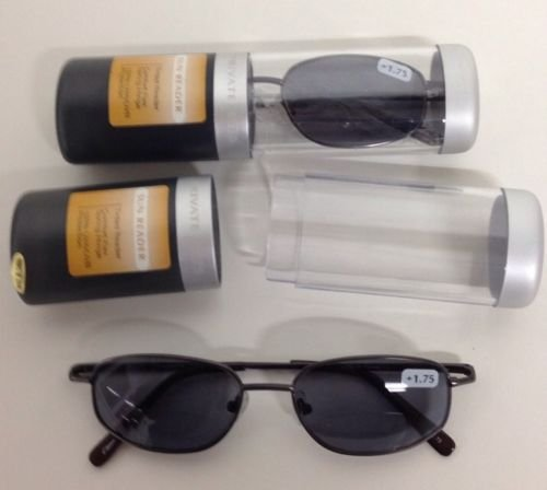2 PAIRS PRIVATE EYES COMFORT FLEX SUN READER GLASSES W CASE 1.75 STRENGTH - Readers Sun Magnivision