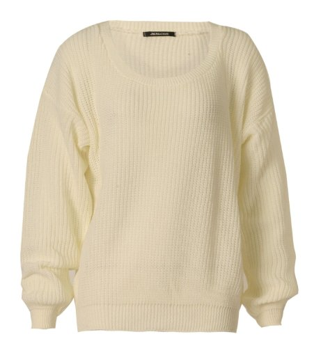 FashionMark Women's Long Sleeves Oversize Baggy Jumper Ladies Baggy Sweater Chunky Knitted Top Jumpers - 19 Colors - Size 6-12 (SM (6-8), Cream)