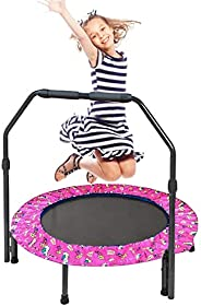 36 Inch Trampoline for Girls Mini Folding Jumping Trampoline with Handrail and Safety Padded Cover for Indoor