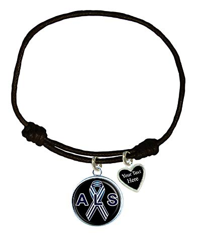 Holly Road ALS Lou Gehrig's Awareness Black Leather Unisex Bracelet Jewelry Choose Your Text -