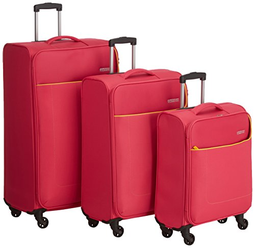 American Tourister Funshine Set 3 Spinner Set di Valigie, Poliestere, Bright Pink, 99.5 litri, 79 cm
