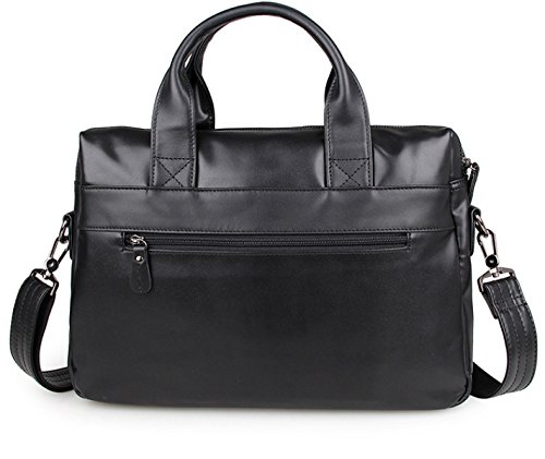 Hope Retro Business Aktentasche Männer Aus Echtem Leder Deluxe Laptop Tasche Schultertasche Messenger Bag Business Office Bag Black