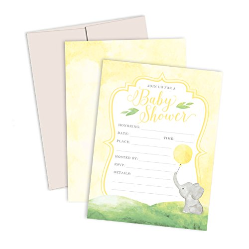 Watercolor Elephant Baby Shower Invitations: 12 Premium Fill-In-Your-Own Elephant Baby Shower Invites with Light Gray Linen Envelopes - Made in the USA By Palmer Street Press (Yellow)