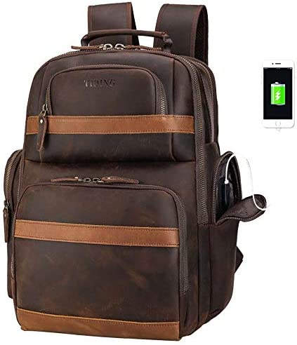 Tiding Leather Backpack 15.6 inch Laptop Backpack Vintage Business Travel Bag Large Capacity School Daypacks with USB Charging Port YKK Zippers