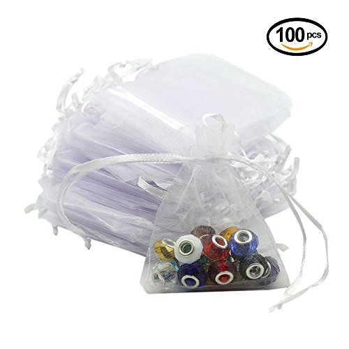 Lalago 100 Pcs Organza Wedding Favour Bags Gift Mini Jewelry Bags (White)