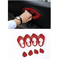 Nicebee Red Interior Door Handle FULL Cup Bezel Ring Trim Covers ABS For Jeep Cherokee 2014-2016