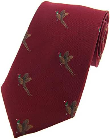 Wine Flying Pheasants Woven Country Silk Tie by David Van Hagen