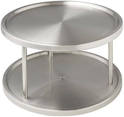 26.5 x 15.5 x 26.5 cm Edelstahl rostfrei Silber matt 2 drehbare Ablagefl/ächen Wenko 2335100 Schrankrondell Duo