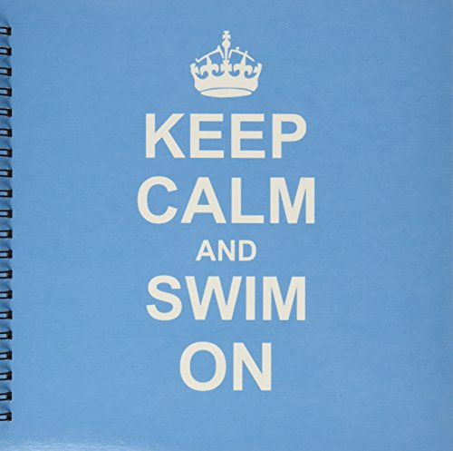 3dRose db_157778_2 Keep Calm and Swim on Blue Carry on Swimming Hobby Or Pro Swimmer Gifts Pool Fun Funny Humor Memory Book, 12 by 12-Inch