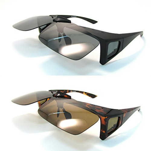 Set of 2 Fit Over Sunglasses Wear over Prescription Eyeglasses Medium Size for Men and - Sides Eyewear