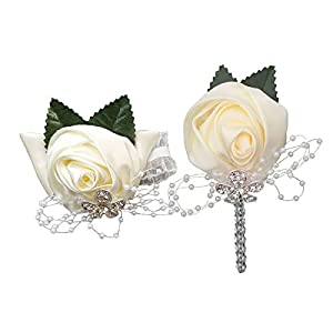 TtMarket 3PCS Wedding Bouquets and Corsage Wristlet and Boutonniere Set Bling Wedding Bouquets for Bride/Bridesmaids Groom Groomsman Corsage and Boutonniere Set for Wedding, Prom, Church, Home 59