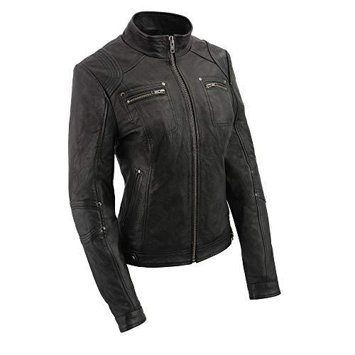 Milwaukee - chamarra de piel para mujer (talla S), color negro