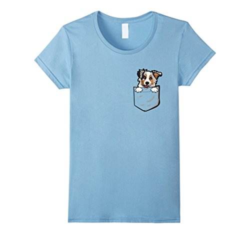 Womens Adorable Little Australian Shepherd In The Pocket T Shirt Small Baby Blue
