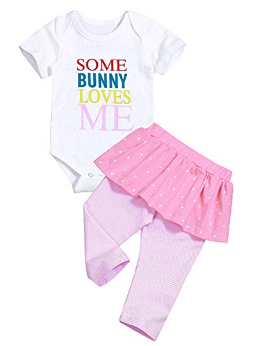 Toddler Baby Girl Easter Clothes 3 6 12 18 Months Short Sleeve Bodysuit Pink Tutu Pants Costume Newborn Outfit Sets 6-12 Months -