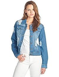 Womens Denim Jean Jacket and Sleeveless Vest