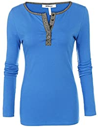 Meaneor Women's Henley Neck Long Sleeve Slim Fit T-Shirt Tops Blouse Tunics