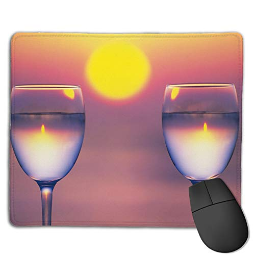 Miniisoul Non-Slip Rubber Base Mousepad for Laptop Computer PC Personality Desings Gaming Mouse Pad Mat (Two Wine Glass Sunset, 8.66 X 7.08 Inch)