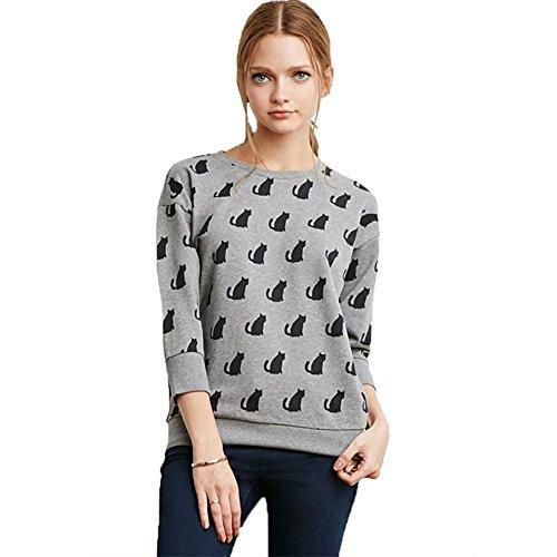 RubySports Slender Women's Junior Cartoon Cat Printing T shirt Pullover Sweatshirts 41STuXEFXcL