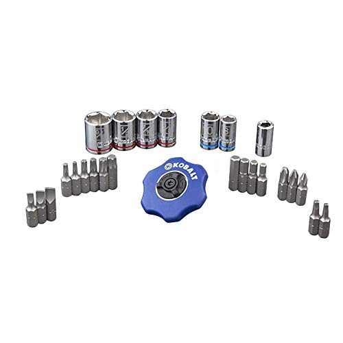 Kobalt 338532 26-Piece 1/4-Inch Drive Palm Ratchet Mechanic's Tool Set, Inch/Metric, includes Sockets; Screwdriver, Hex, Torx, and Square Bits