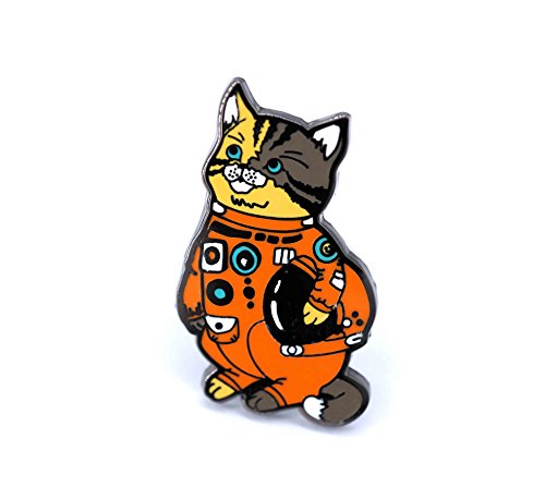 Enamel Cat Pin (Cat Enamel Pin Astronaut Kitty In a Space Suit Holding a Space Helmet Cat Lovers)
