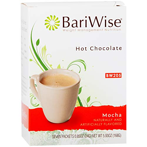 BariWise High Protein Hot Cocoa - Instant Low-Carb, Low Calorie Hot Chocolate Mix with 15g Protein - Mocha (7 Count)