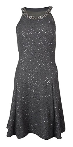 Betsy&Adam Halter Beaded Neck Dress Women's Sheath Gray 4 by Betsy & Adam (Image #1)