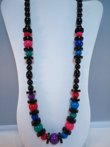 - IMPRESSIVE Vintage Black Red Green Purple Pink & Blue Beaded 29 1/2 inch Lucite Necklace - from Hibiscus Express