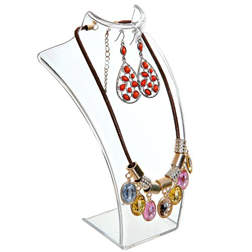 Clear Acrylic Necklace & Earring Jewelry 3D Bust Display Stand, 8-Inch - MyGift