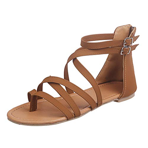 sweetnice Women Shoes Womens Gladiator Strappy Flat Sandals Open Toe Criss Cross Strap Ankle Wrap Summer Beach Thongs Sandals (US:5, Brown)