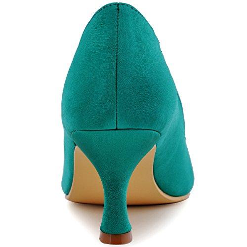 ElegantPark HP1541 Mujer Peep Toe Cristales Rhinestones Clip Hebilla Mid Tacon Saten boda Novia zapatos Teal