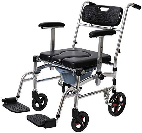 Wei Jun トイレの椅子、ホイールをアルミ合金の便座は、スツールは、片麻痺リハビリトイレチェア高齢妊婦ホームチェアを折り畳むことができるプッシュすることができます /-/-/ (Color : A)