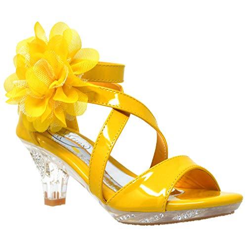 Generation Y Kids Dress Sandals Girls Clear Rhinestone Low Heel Side Flower Back Zipper Yellow Clear SZ 5 -