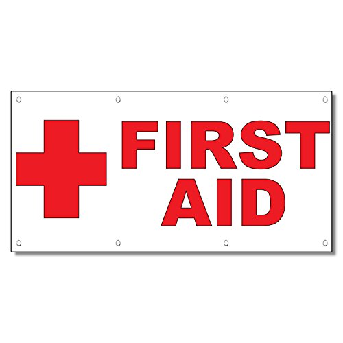 - First Aid Red Horizontal 13 Oz Vinyl Banner Sign With Grommets 2 Ft X 4 Ft