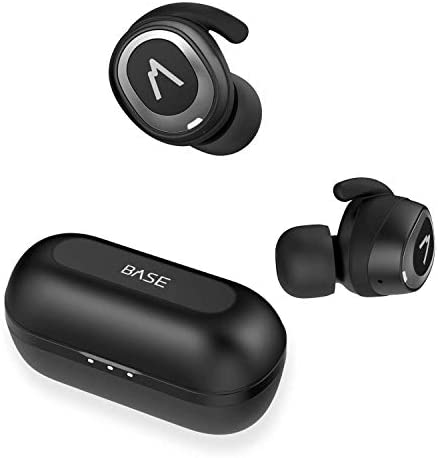 Base Jump True Wireless Earbuds Headphones 32 Hours, Bluetooth 5, Sport Small Fit, Charging Case. Deep Bass Sound Headset, Noise Canceling Earphones for Android Samsung iPhone Black