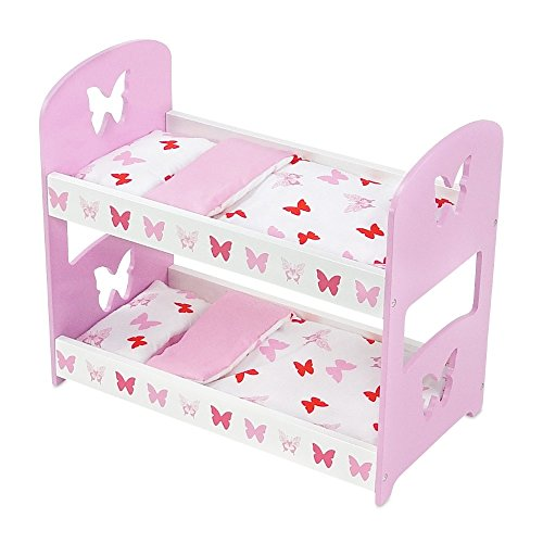 18 Inch Doll Furniture | Lovely Pink and White Bunk Bed with Beautiful Butterfly Motif, Includes Thick, Plush Bedding| Fits American Girl Dolls