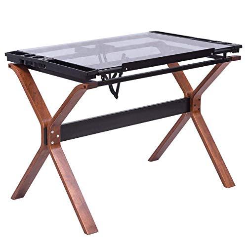 Tangkula Drafting Table Adjustable Home Office Workstation Glass Top Steel Frame Art Craft Station Drawing Desk (Steel Drawing Table)