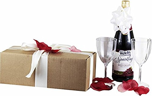 Celebrate the Occasion Gift Set with Welch's Sparkling Grape Juice ~ Romantic Gift Package Includes 1 - 25.4 Oz Sparkling Grape Juice, 2 Plastic Wine Glasses and Rose Petals (Red Grape Romance)