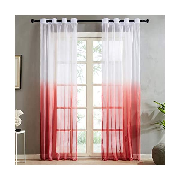 Top Finel Gradient Red Sheer Curtains 96 Inches Long for Bedroom Living Room Grommet Window Treatments Curtains, 2 Panels