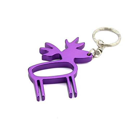 Swatom Deer Aluminum Bottle Opener with Keychain, Key Tag Chain Ring, Creative Gifts, 1 Piece