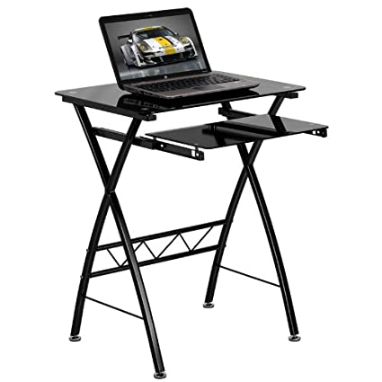a black compact computer image glass view desk asda tempered the workstation larger of collection leda
