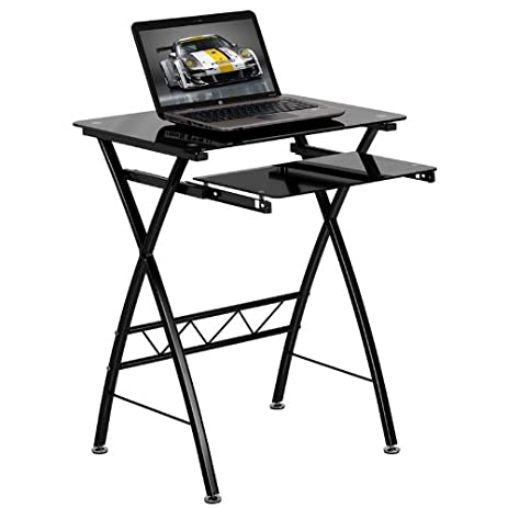 Flash Furniture Black Tempered Glass Computer Desk With Pull Out Keyboard  Tray