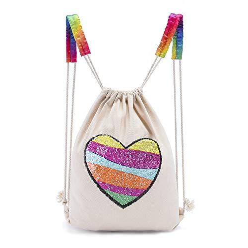Leegleri Mermaid Sequin Backpack Reversible Sequin Rainbow Love Drawstring Bag for Girls,Flip Glitter Sequin Dance Bag School Gym Bag for Kids Woman, Mermaid Birthday Gift(Canvas Rainbow Love) -