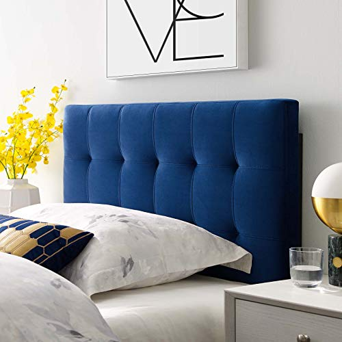 Modway Lily Biscuit Tufted Twin Performance Velvet Headboard, Navy (Navy Headboard Velvet)